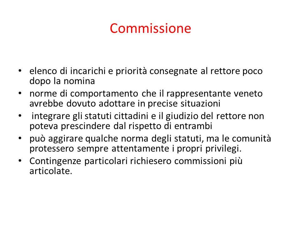 Commissione elenco di incarichi e priorità consegnate al rettore poco dopo la nomina.