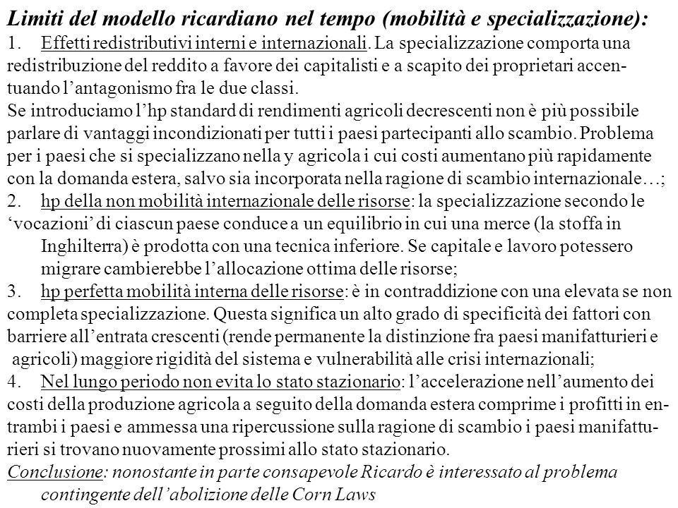 Limiti del modello ricardiano nel tempo (mobilità e specializzazione):