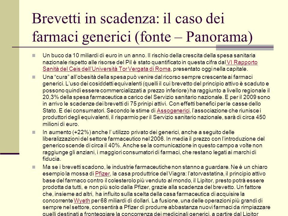 Brevetti in scadenza: il caso dei farmaci generici (fonte – Panorama)
