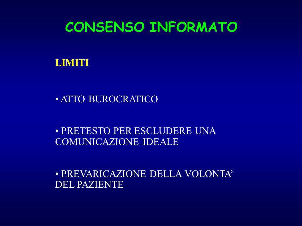 CONSENSO INFORMATO LIMITI ATTO BUROCRATICO