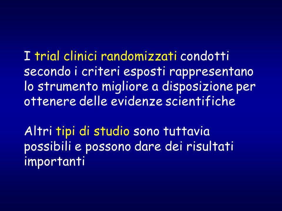 I trial clinici randomizzati condotti secondo i criteri esposti rappresentano lo strumento migliore a disposizione per ottenere delle evidenze scientifiche