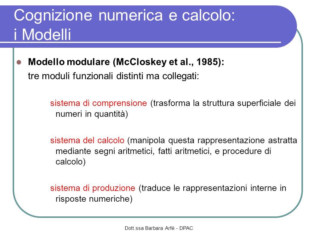 Cognizione numerica e calcolo: i Modelli