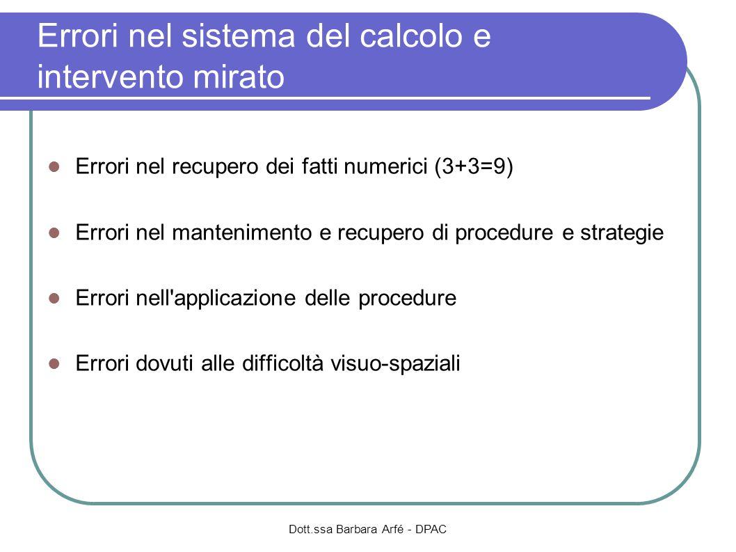 Errori nel sistema del calcolo e intervento mirato