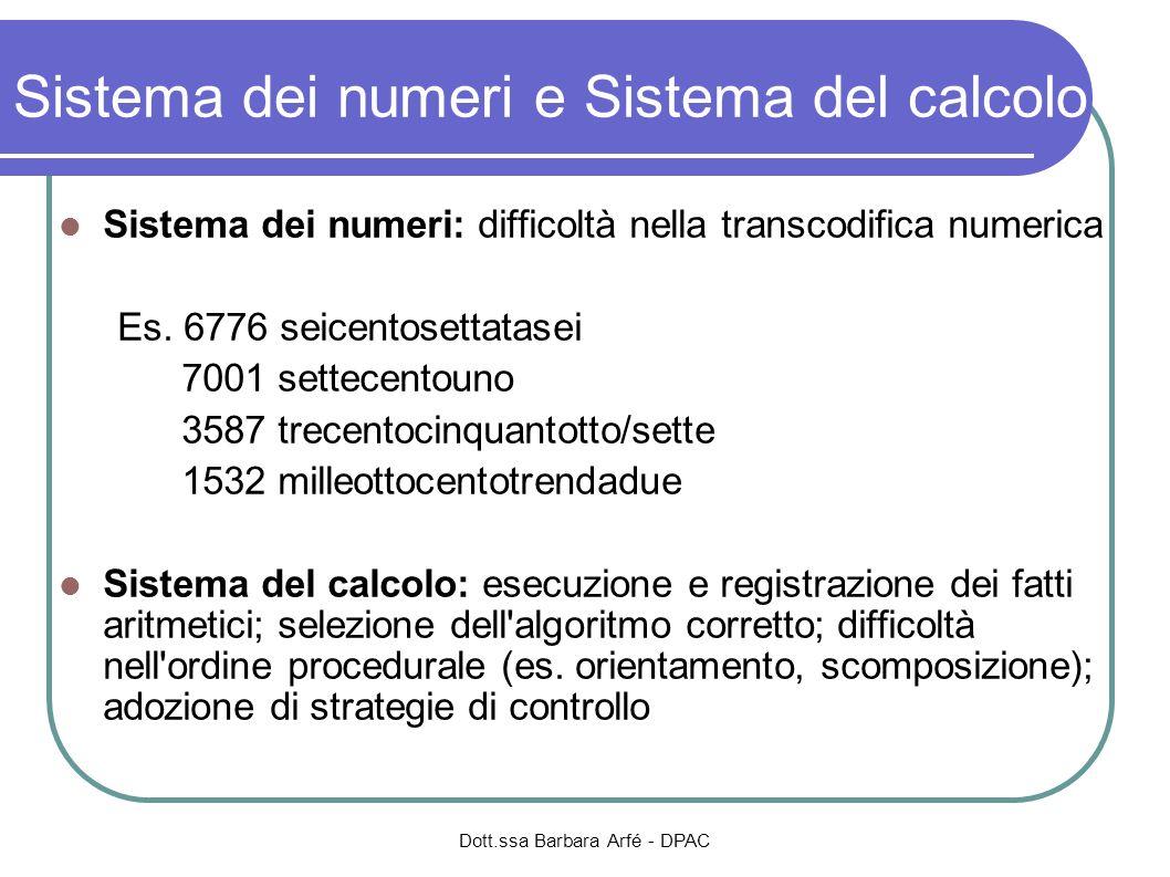 Sistema dei numeri e Sistema del calcolo