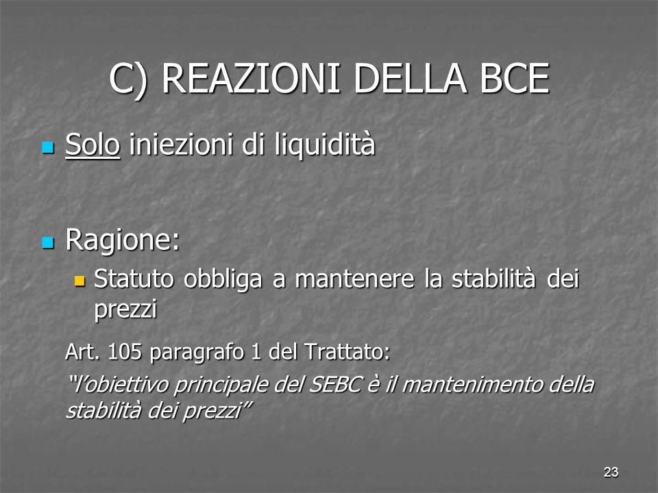 C) REAZIONI DELLA BCE Solo iniezioni di liquidità Ragione: