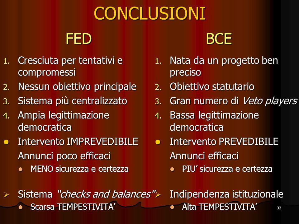 CONCLUSIONI FED BCE Cresciuta per tentativi e compromessi
