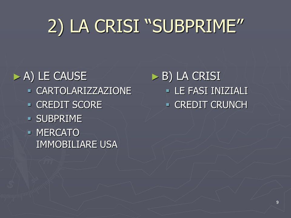 2) LA CRISI SUBPRIME A) LE CAUSE B) LA CRISI CARTOLARIZZAZIONE