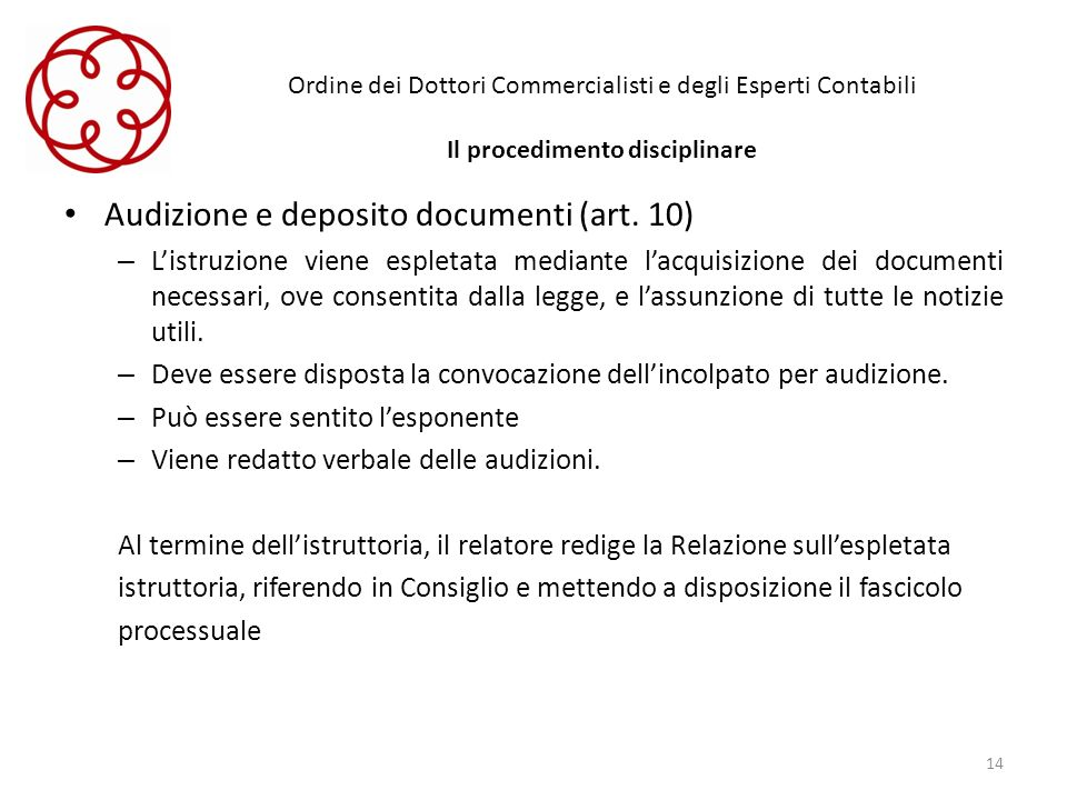 Audizione e deposito documenti (art. 10)