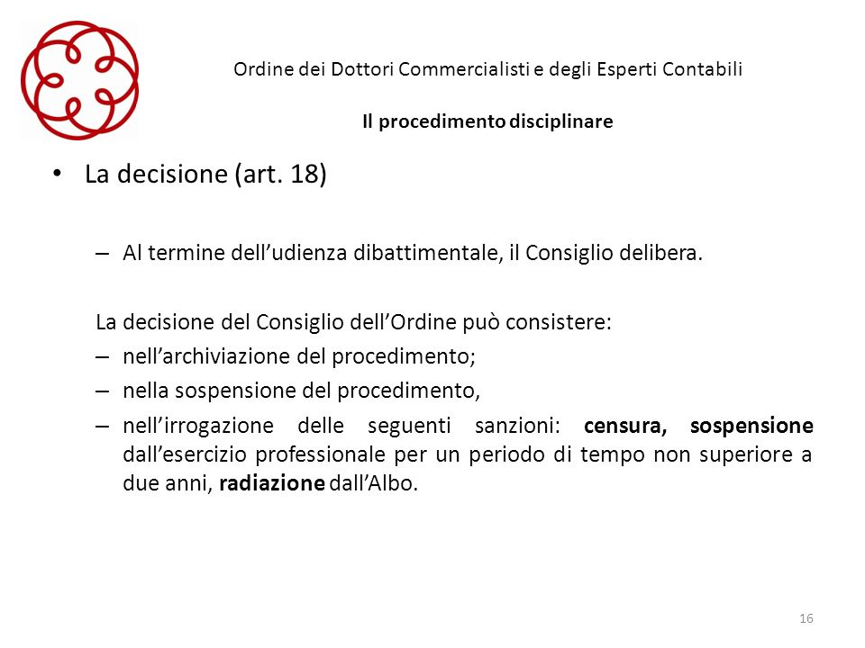 Ordine dei Dottori Commercialisti e degli Esperti Contabili Il procedimento disciplinare