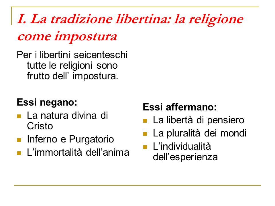 I. La tradizione libertina: la religione come impostura