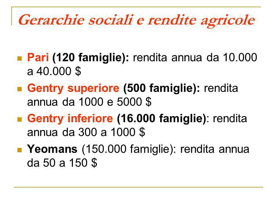 Gerarchie sociali e rendite agricole