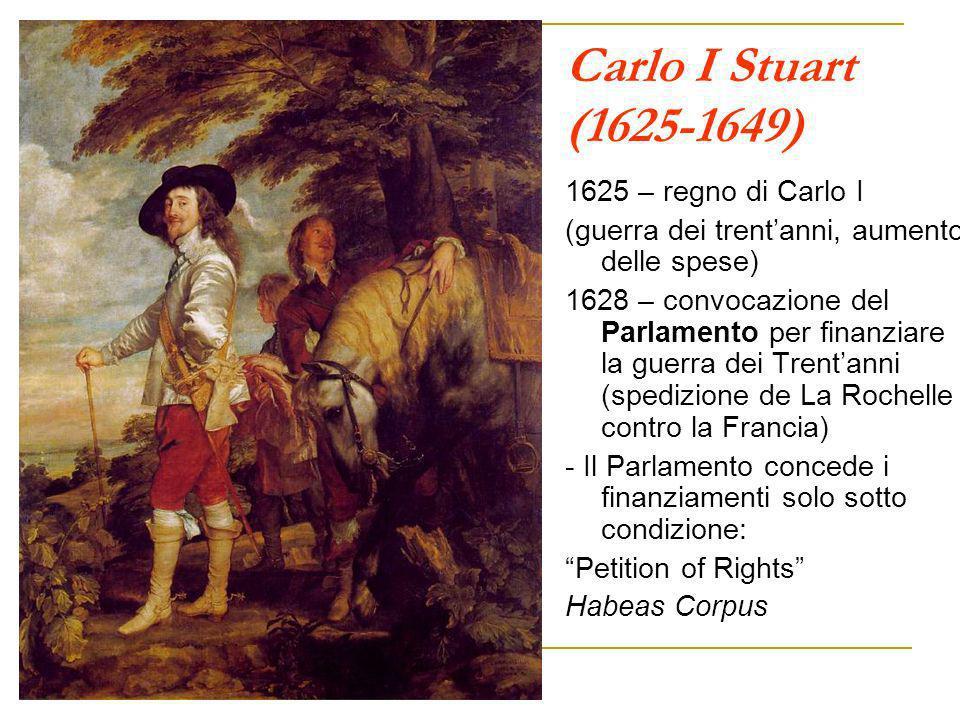Carlo I Stuart (1625-1649) 1625 – regno di Carlo I