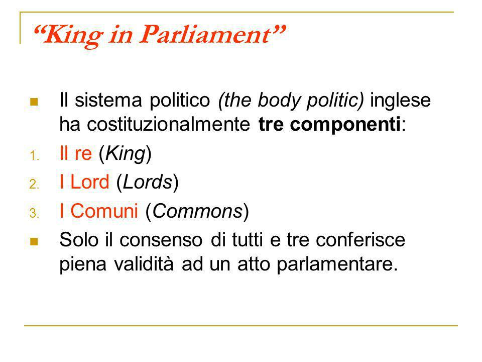 King in Parliament Il sistema politico (the body politic) inglese ha costituzionalmente tre componenti: