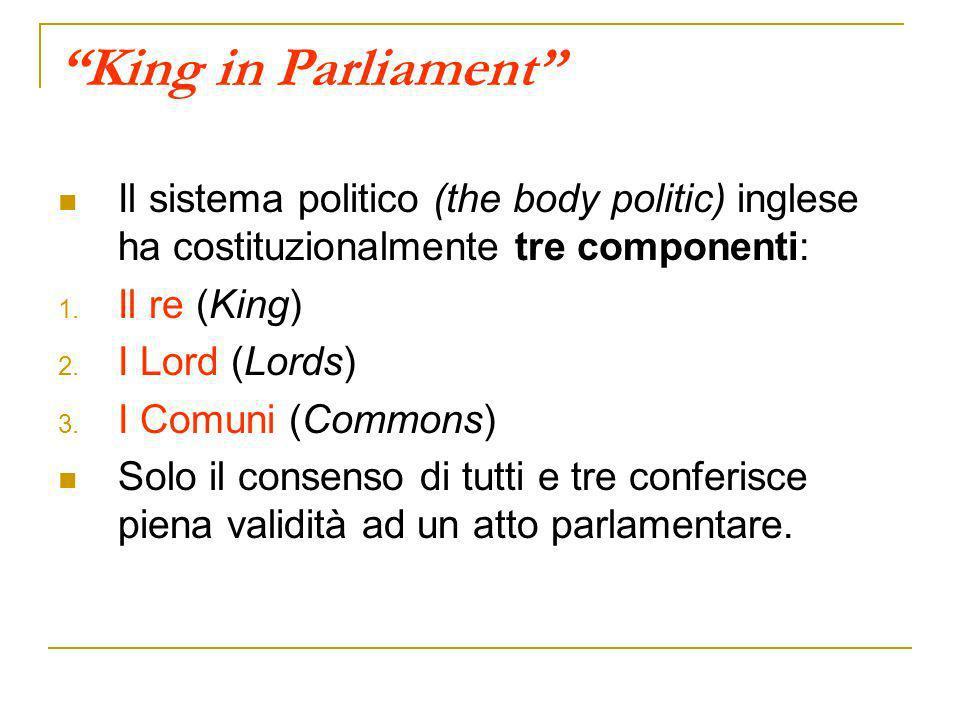 King in Parliament Il sistema politico (the body politic) inglese ha costituzionalmente tre componenti: