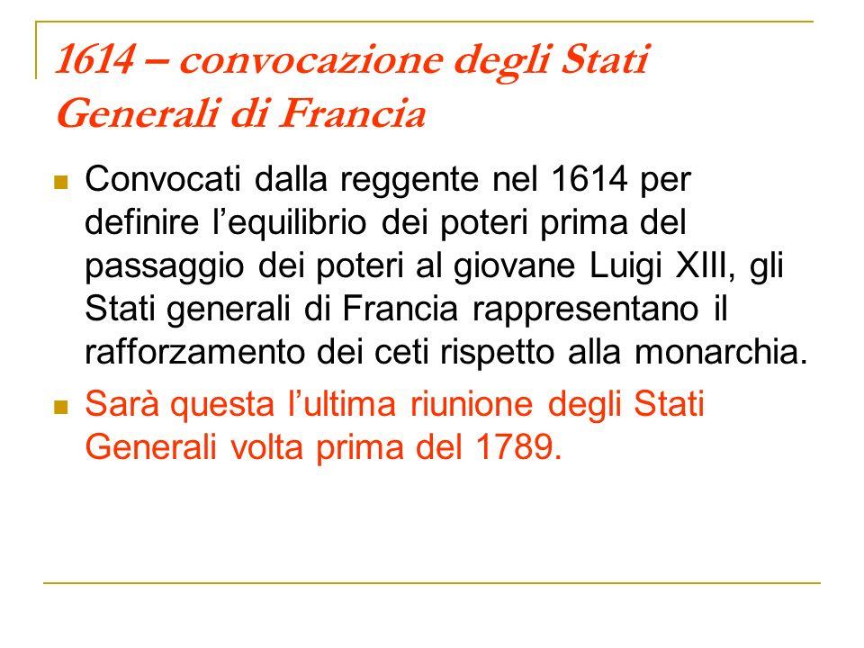 1614 – convocazione degli Stati Generali di Francia