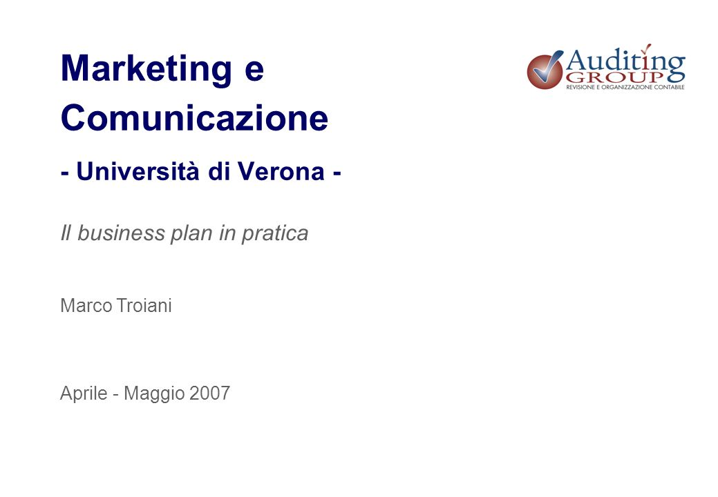 Marketing e Comunicazione - Università di Verona -