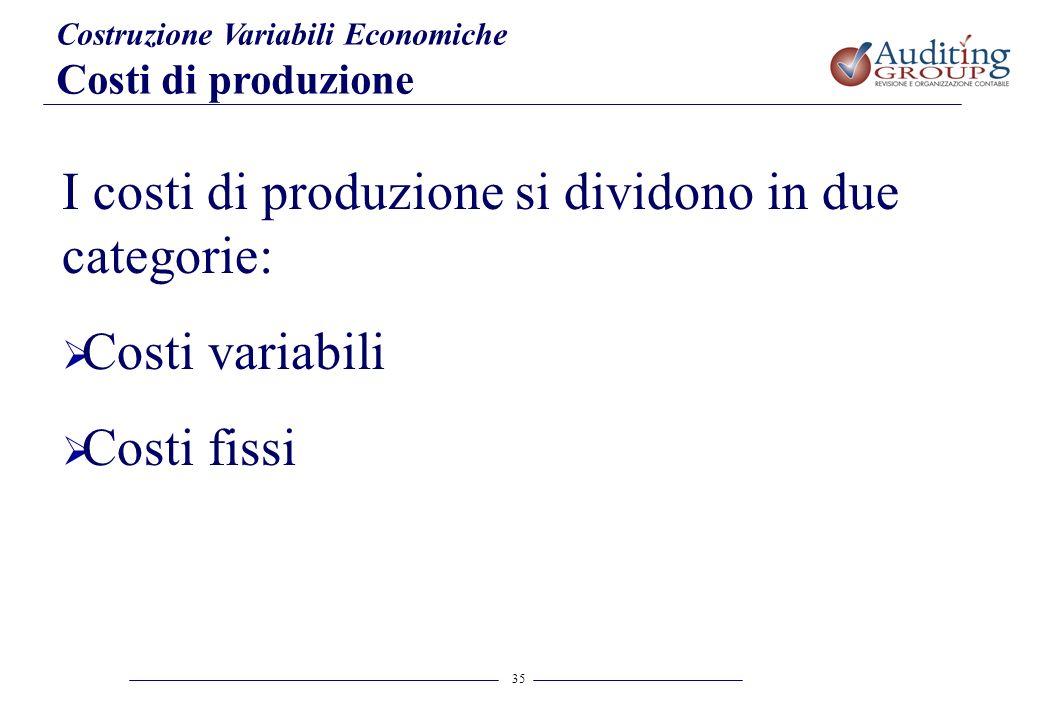 I costi di produzione si dividono in due categorie: Costi variabili