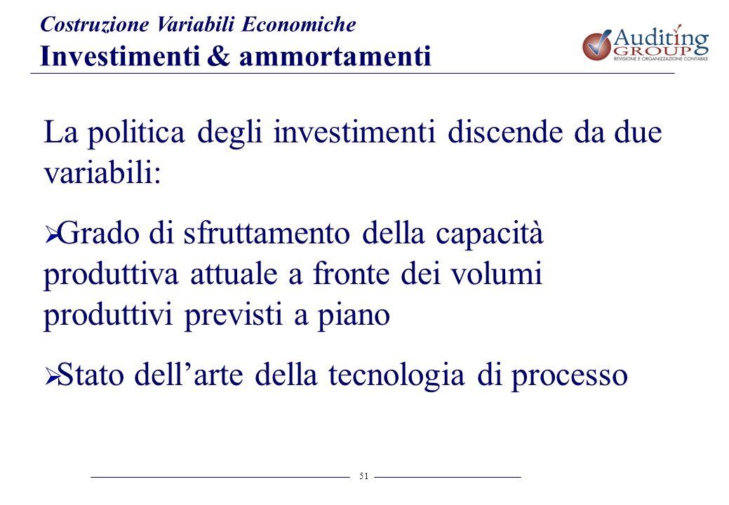 La politica degli investimenti discende da due variabili: