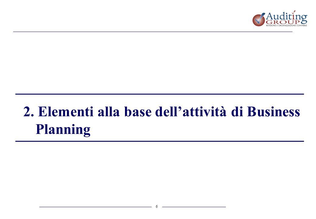 2. Elementi alla base dell'attività di Business Planning