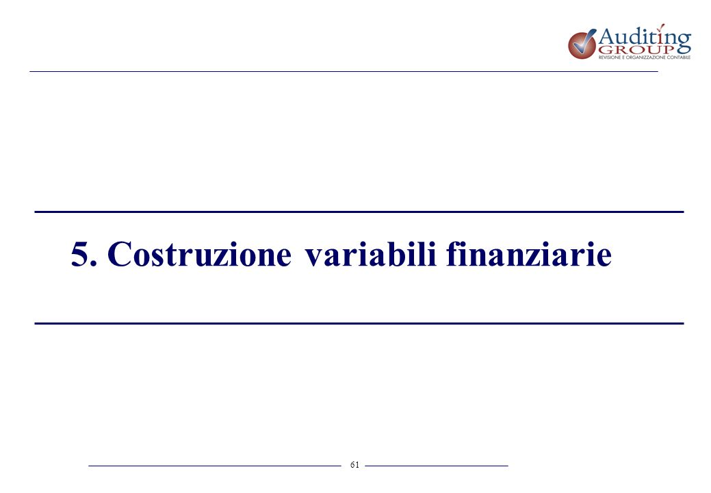 5. Costruzione variabili finanziarie