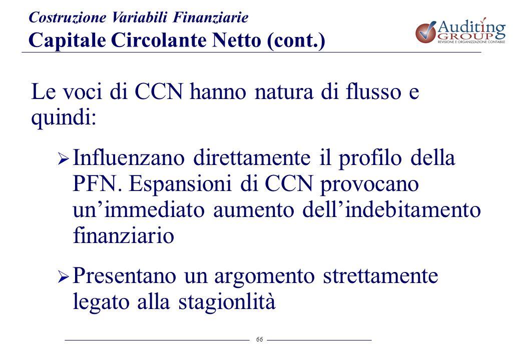 Le voci di CCN hanno natura di flusso e quindi: