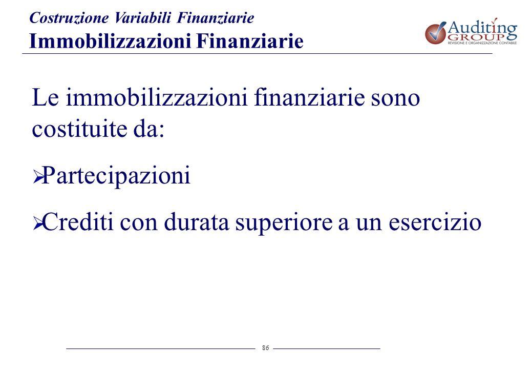 Le immobilizzazioni finanziarie sono costituite da: Partecipazioni