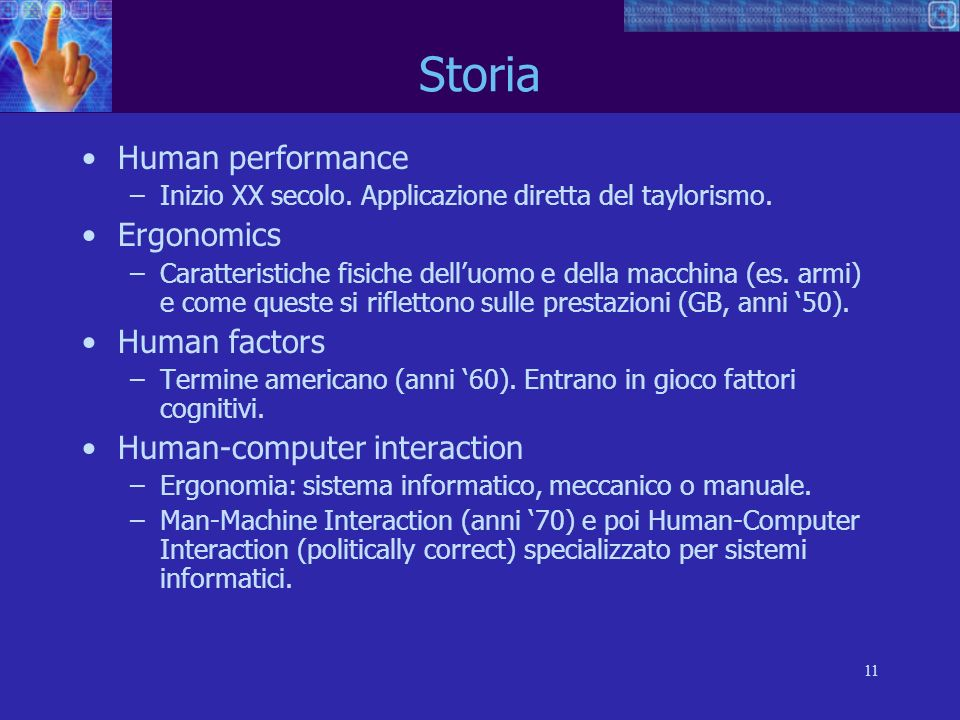 Storia Human performance Ergonomics Human factors