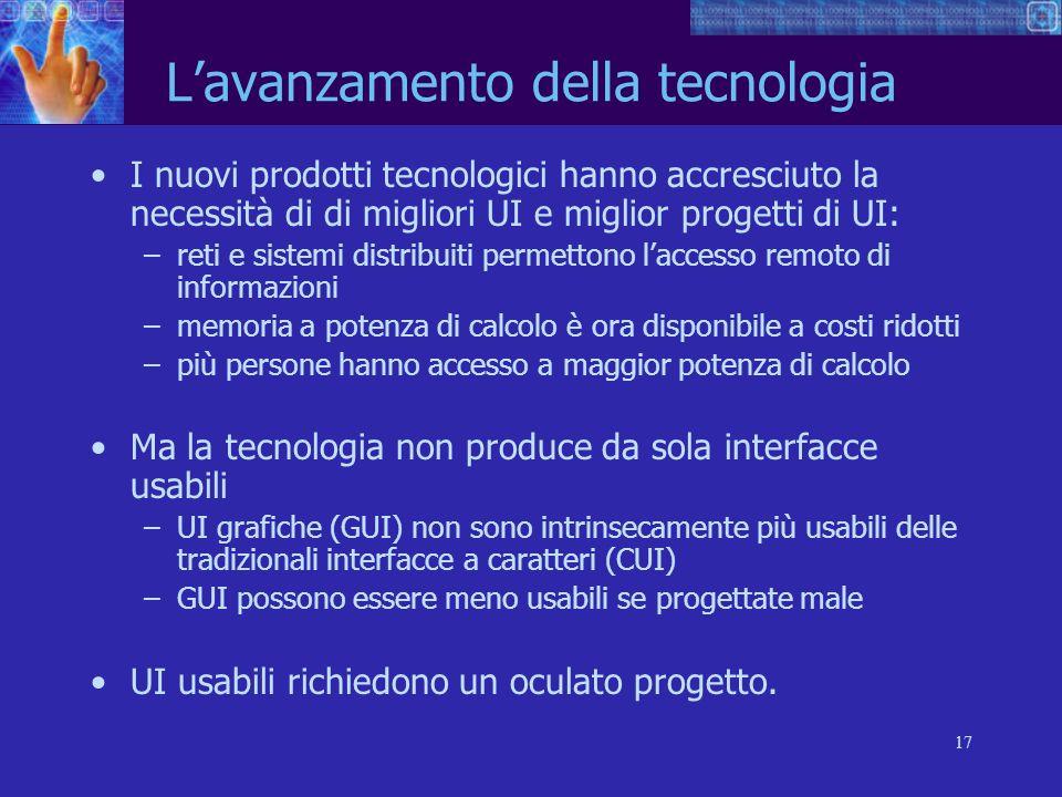 L'avanzamento della tecnologia