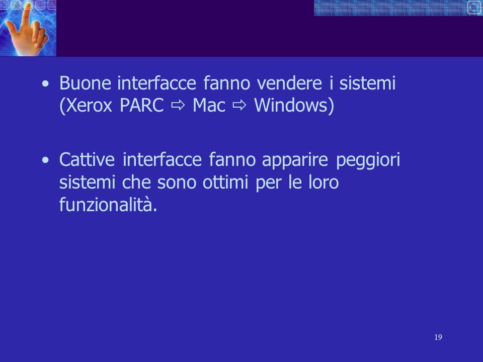 Buone interfacce fanno vendere i sistemi (Xerox PARC  Mac  Windows)