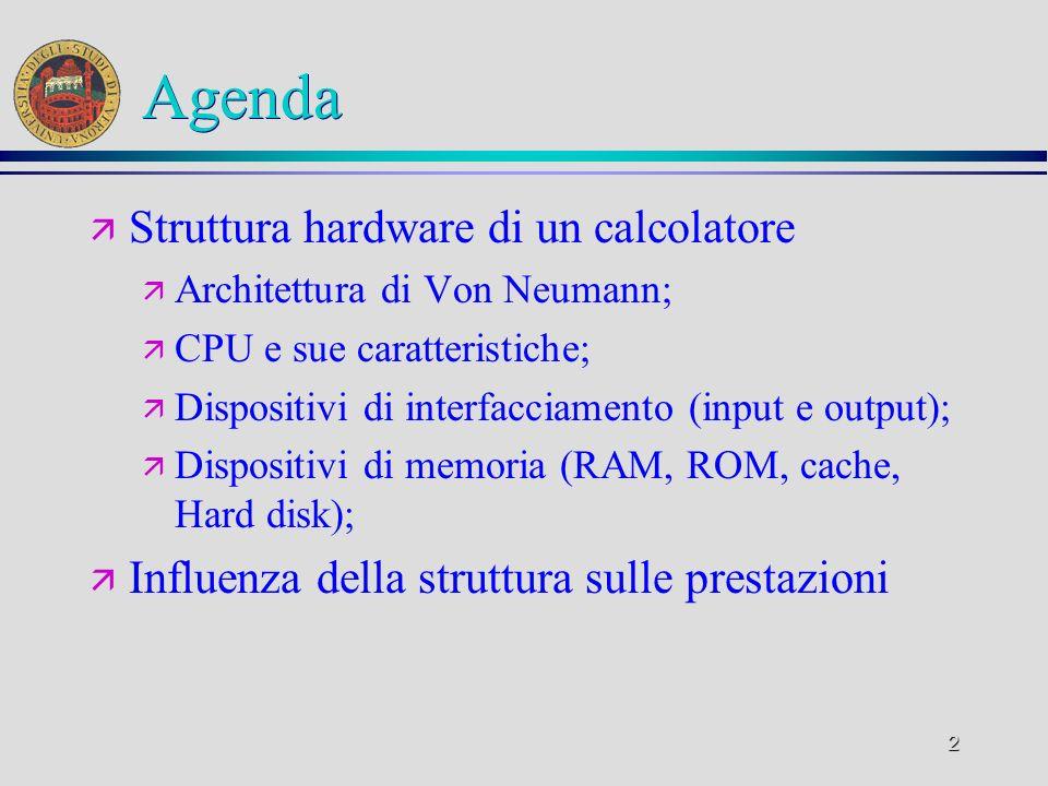 Agenda Struttura hardware di un calcolatore