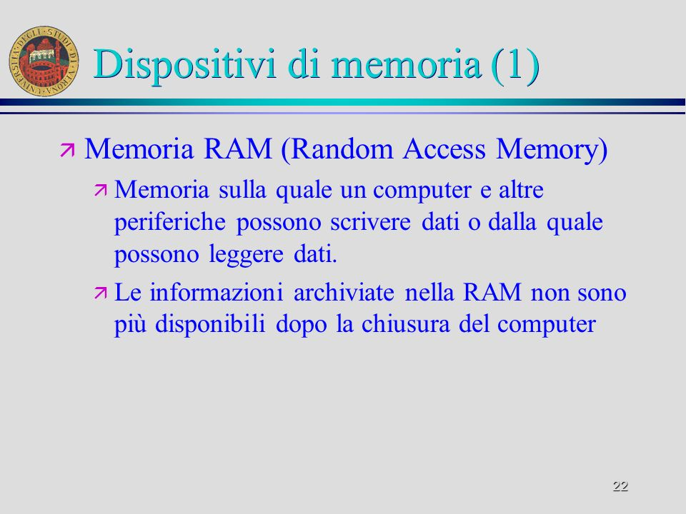 Dispositivi di memoria (1)