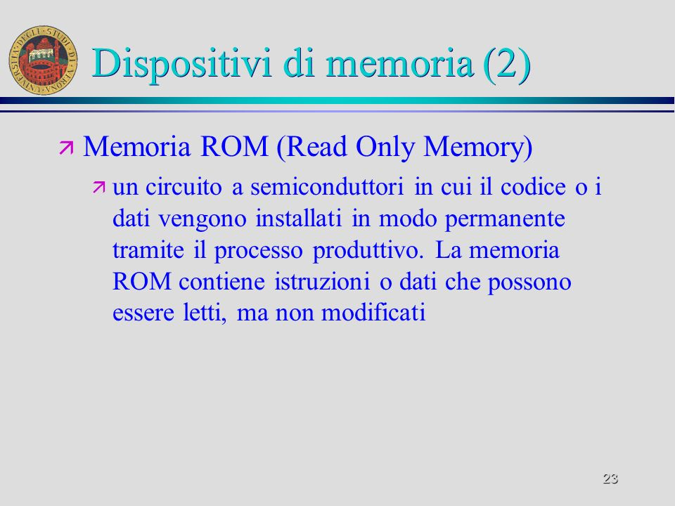 Dispositivi di memoria (2)