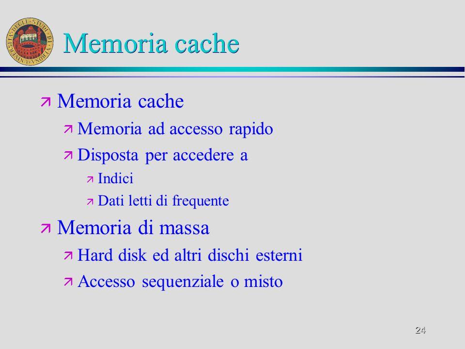 Memoria cache Memoria cache Memoria di massa Memoria ad accesso rapido