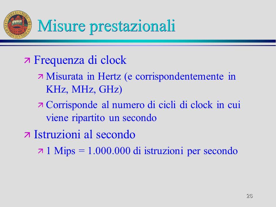 Misure prestazionali Frequenza di clock Istruzioni al secondo