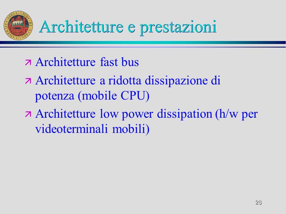 Architetture e prestazioni