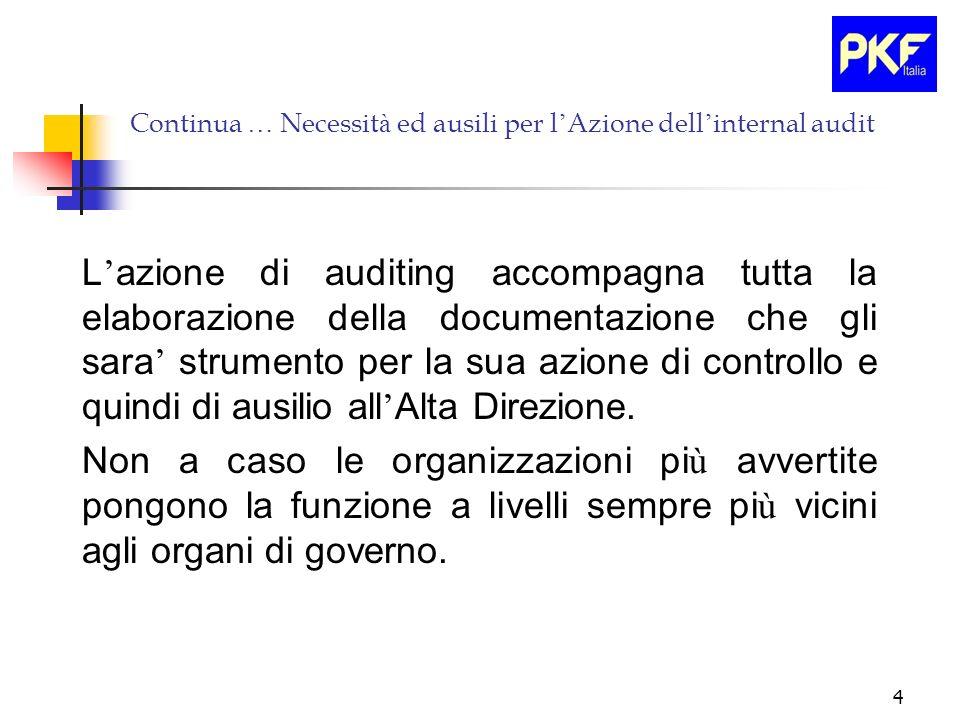 Continua … Necessità ed ausili per l'Azione dell'internal audit