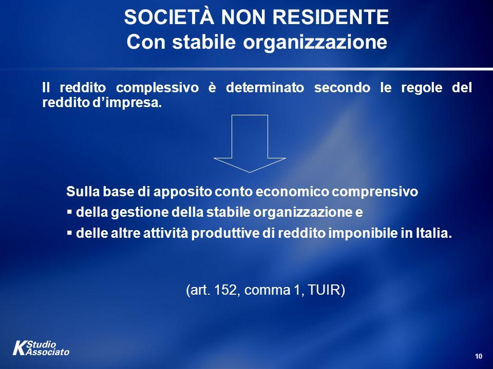 SOCIETÀ NON RESIDENTE Con stabile organizzazione
