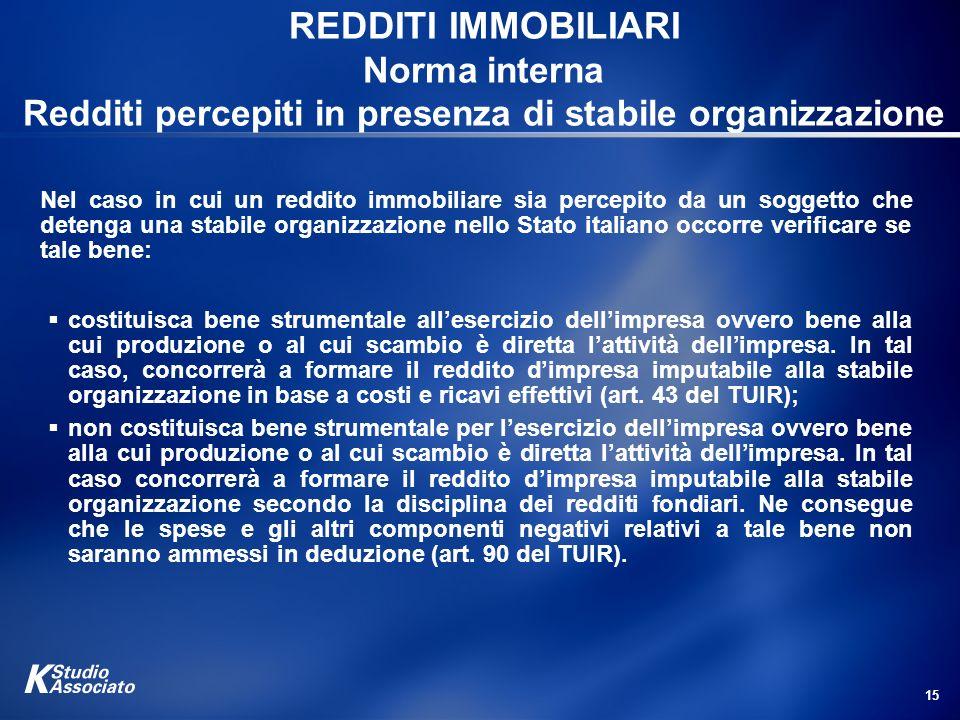 REDDITI IMMOBILIARI Norma interna Redditi percepiti in presenza di stabile organizzazione