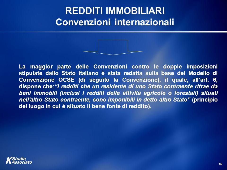 REDDITI IMMOBILIARI Convenzioni internazionali