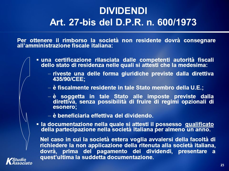 DIVIDENDI Art. 27-bis del D.P.R. n. 600/1973