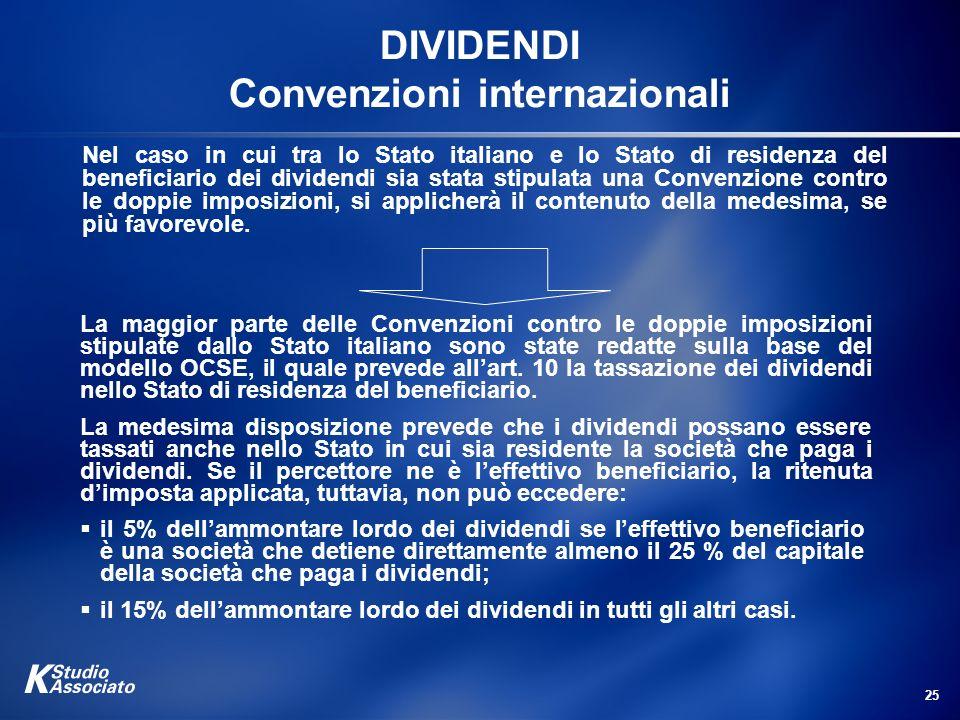 DIVIDENDI Convenzioni internazionali
