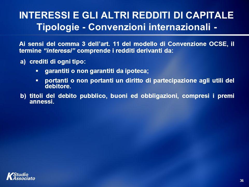 INTERESSI E GLI ALTRI REDDITI DI CAPITALE Tipologie - Convenzioni internazionali -