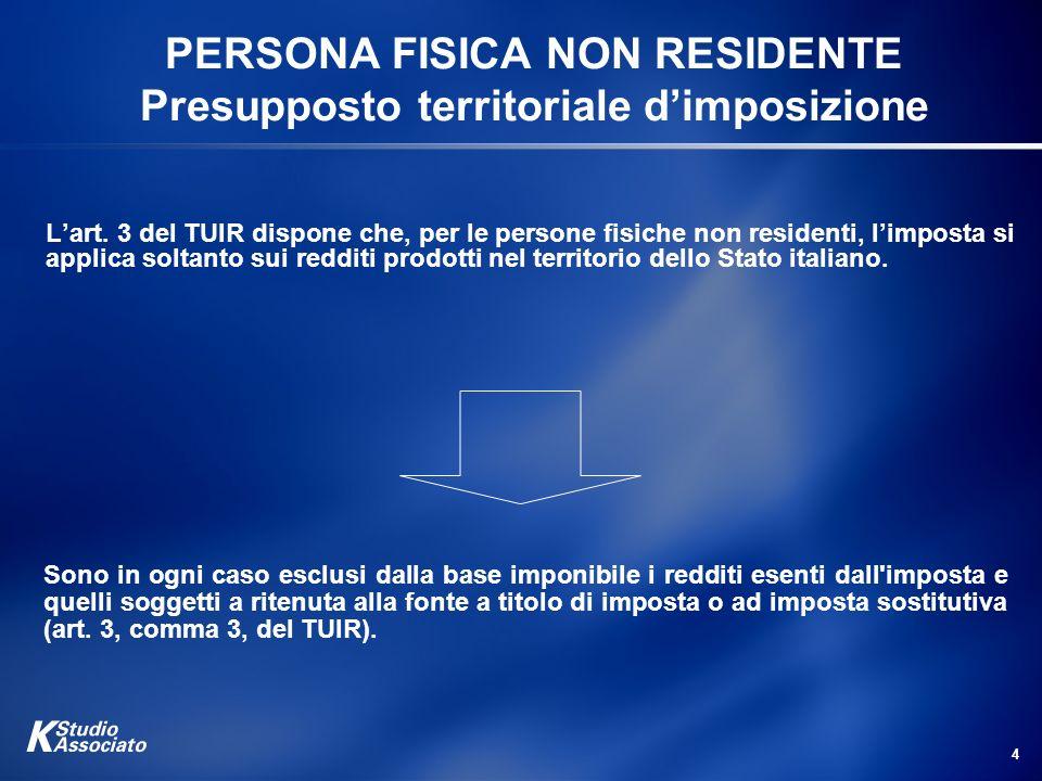 PERSONA FISICA NON RESIDENTE Presupposto territoriale d'imposizione