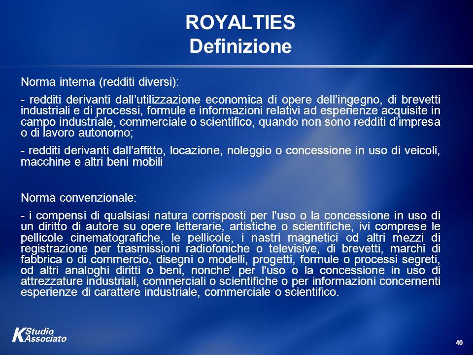ROYALTIES Definizione