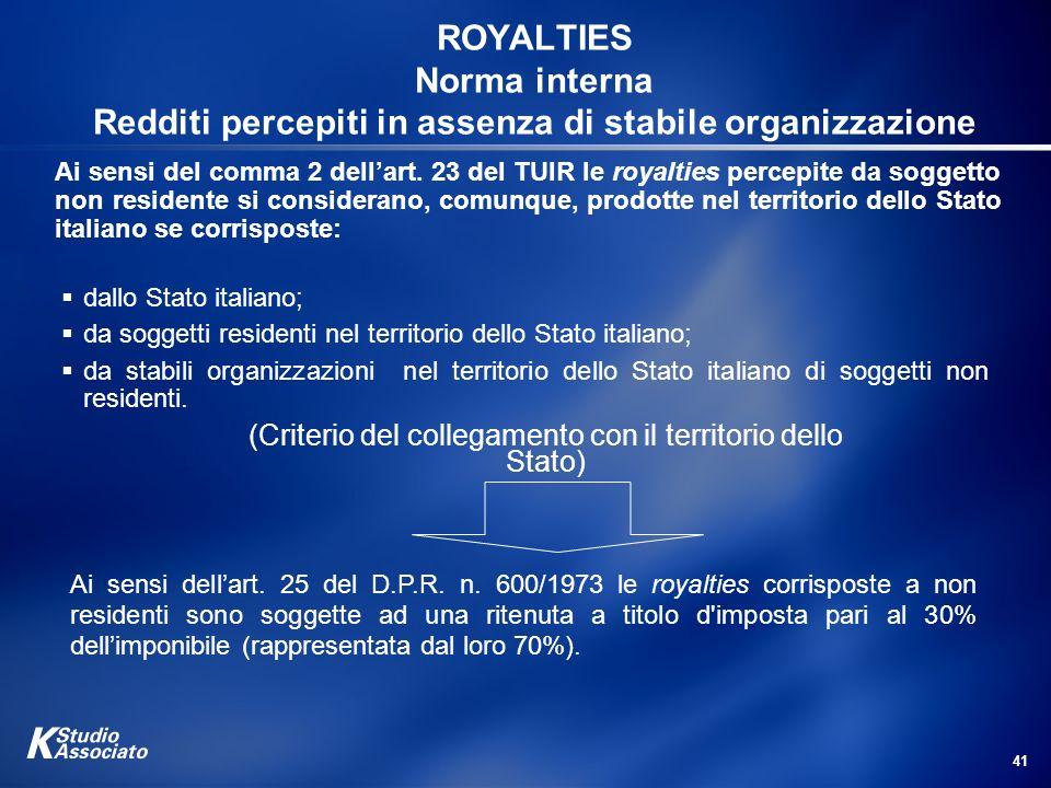 (Criterio del collegamento con il territorio dello Stato)