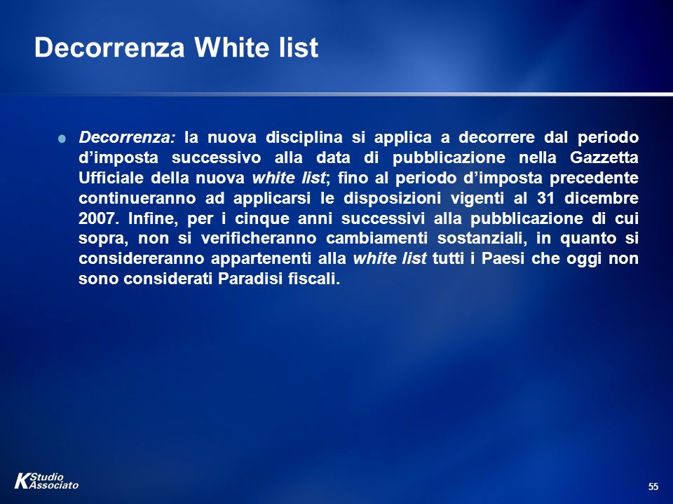 Decorrenza White list