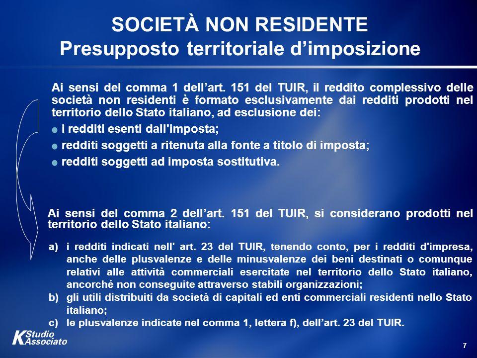 SOCIETÀ NON RESIDENTE Presupposto territoriale d'imposizione