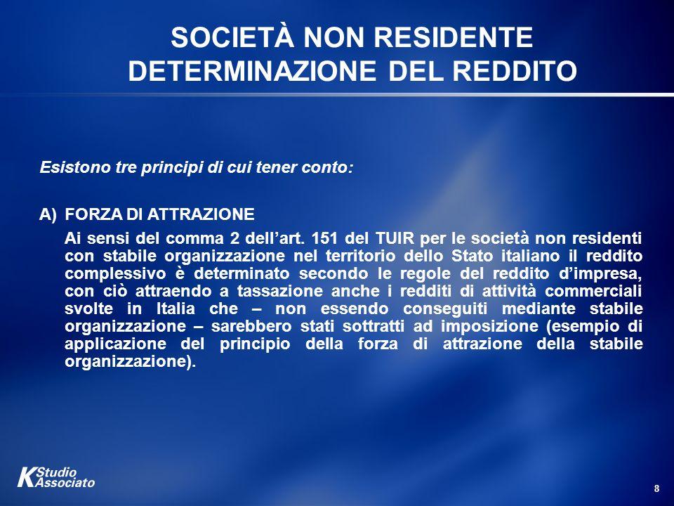 SOCIETÀ NON RESIDENTE DETERMINAZIONE DEL REDDITO