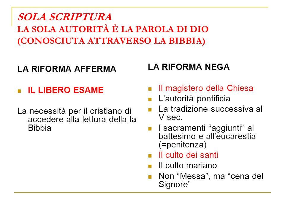 SOLA SCRIPTURA LA SOLA AUTORITÀ È LA PAROLA DI DIO (CONOSCIUTA ATTRAVERSO LA BIBBIA)