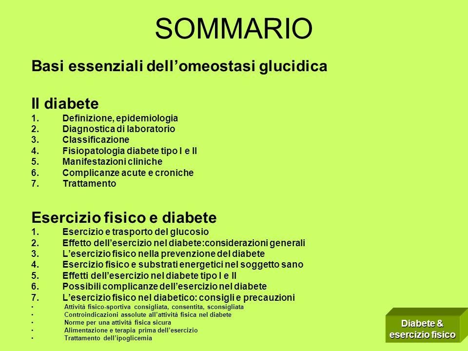 SOMMARIO Basi essenziali dell'omeostasi glucidica Il diabete